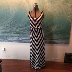 Black and grey chevron maxi dress